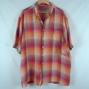 Alan Flusser button down shirt short sleeve plaid